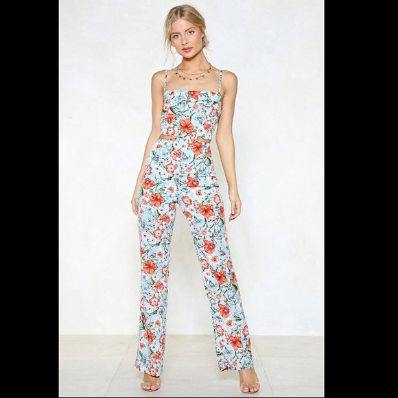 Nasty Gal Pants - Nasty Gal floral jumpsuit with cutouts